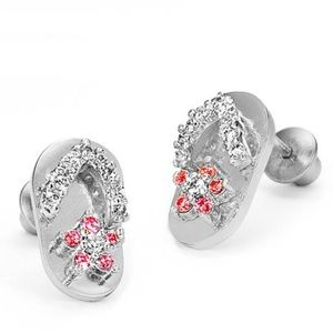 Other - 925 Sterling Silver Rhodium Plated Red Sandals